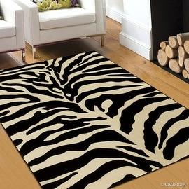 "Allstar Zebra Modern Print Geometric Area Rug (7' 9"" x 10' 5"")"