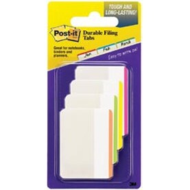 """Post-It Durable Filing Tabs 2""""X1.5"""" 24/Pkg-Assorted Neon Colors"""