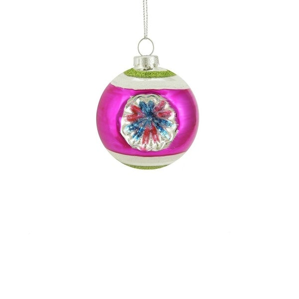 """Fuchsia, Green and Silver Glittered Witches Eye Glass Ball Ornament 2.75"""" (70mm)"""