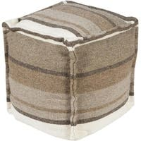 """18"""" Adobe Brown, Taupe and Gray Rustic Cotton Square Pouf Ottoman - Brown"""