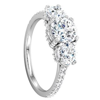 ADELE Three Stone Palladium Engagement Ring with Pavé Set Stones - MADE WITH SWAROVSKI® ELEMENTS