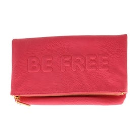 BCBGeneration Womens Faux Leather Fold-Over Clutch Handbag - teaberry - Small
