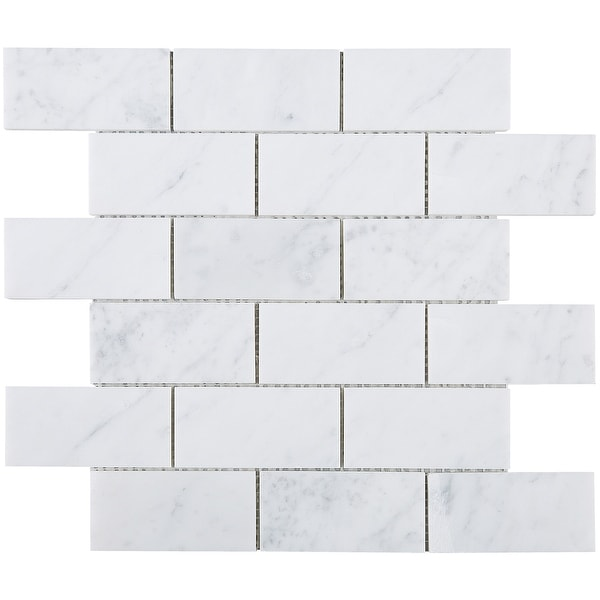 Rectangle 2 X4 White Carrara Marble Subway Tile In Floor And