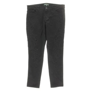 LRL Lauren Jeans Co. Womens Embellished Five-Pocket Skinny Jeans