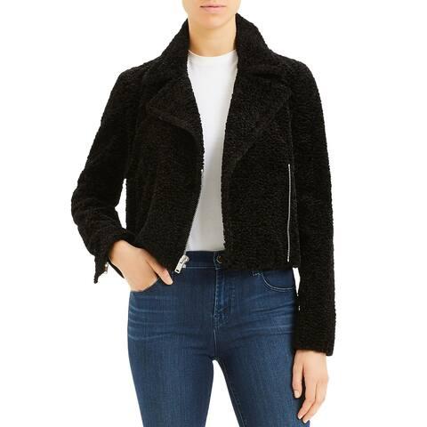 Theory Womens Moto Coat Faux Fur Teddy - Black - 10