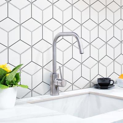 """SomerTile Palm Rombo Hex White 6"""" x 7"""" Porcelain Floor and Wall Tile"""
