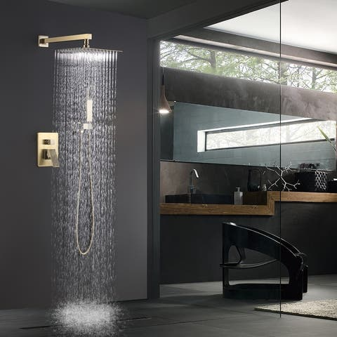 Wall-mounted bathroom rain and cold shower faucet with inlet valve