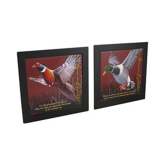 Set of 2 Mallard / Pheasant Wildlife Wood Framed Ceramic Tile Trivets