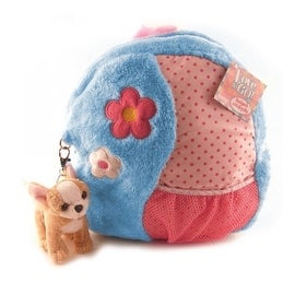 Ganz Love to Go Blue Plush Backpack with Chihuahua Keyclip