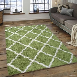 "Allstar Green Dense High Pile Posh Shaggy Area Rugs, Textured Frieze, Soft, Comfortable, Modern & Contemporary (5' 0"" x 7' 0"")"