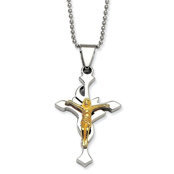 Chisel Stainless Steel Polished with Gold Plated Crucifix Penant 22 Inch Necklace (1 mm) - 22 in