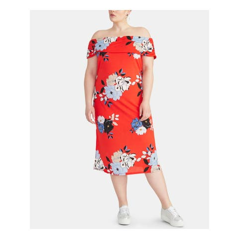 RACHEL ROY Womens Red Floral Short Sleeve Midi Shift Dress Size 2X