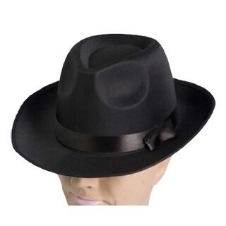 Black Satin Fedora Flapper Adult Costume Hat