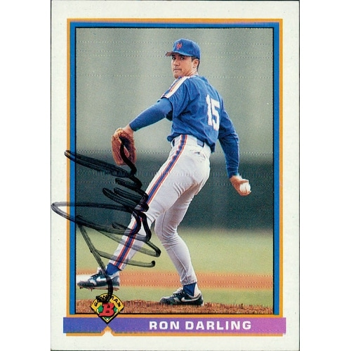 Signed Darling Ron New York Mets 1991 Bowman Baseball Card Autographed