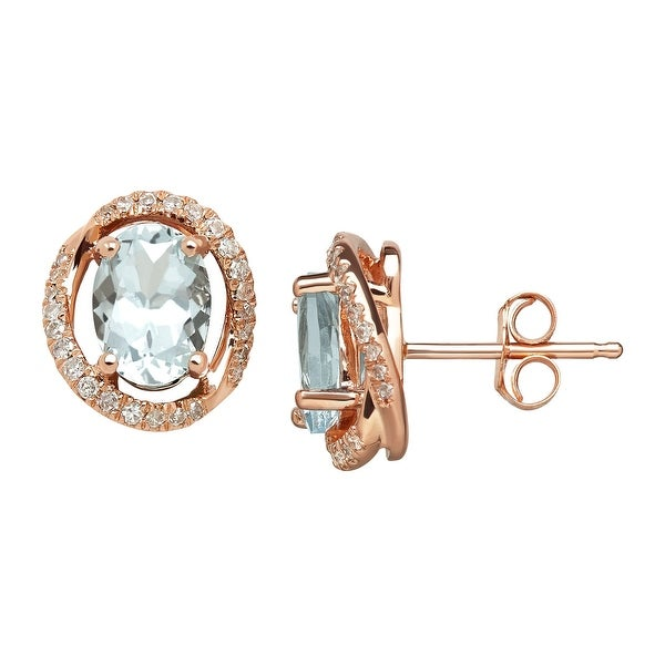 1 1/3 ct Natural Aquamarine & 1/8 ct Diamond Swirl Stud Earrings in 14K Rose Gold - Blue