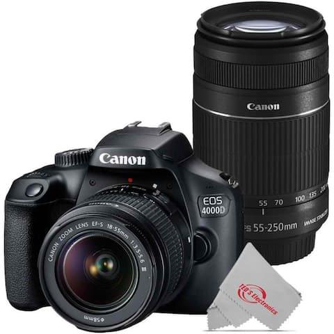 Canon EOS 4000D 18MP DSLR Camera + Canon 18-55mm + Canon 55-250 IS II Lens