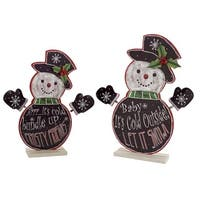 Set of 4 Black and White Snowmen with Snowflake Designs Christmas Tabletop Decorations 18.5""