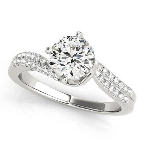 Auriya 14k Gold 1/2ctw Moissanite and Diamond Engagement Ring 1/6ctw