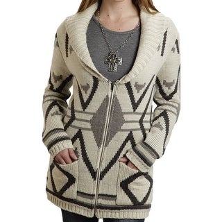 Stetson Western Sweater Womens L/S Aztec Zip Brown 11-027-0539-6689 BR - l