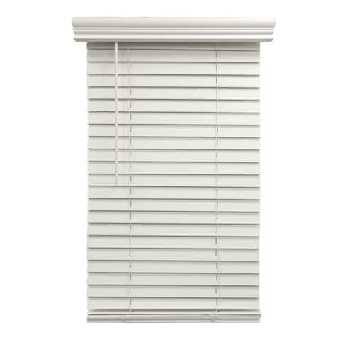 2inch Cordless Fauxwood Venetian Blind White Partial Inside Mount
