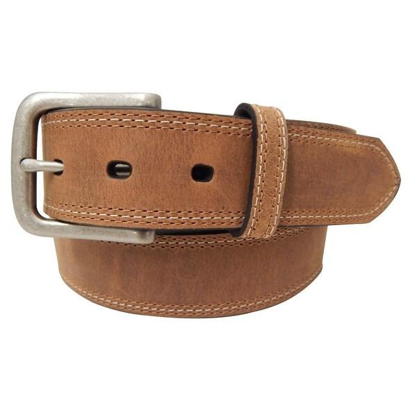 Dan Post Western Belt Mens Three Stitch Crazy Horse Brown