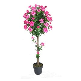 """54.5"""" Decorative Potted Artificial Green and Pink Azalea Flower Tree"""