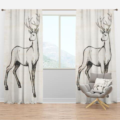 Designart 'Deer Wild and Beautiful VI' Farmhouse Blackout Curtain Panel