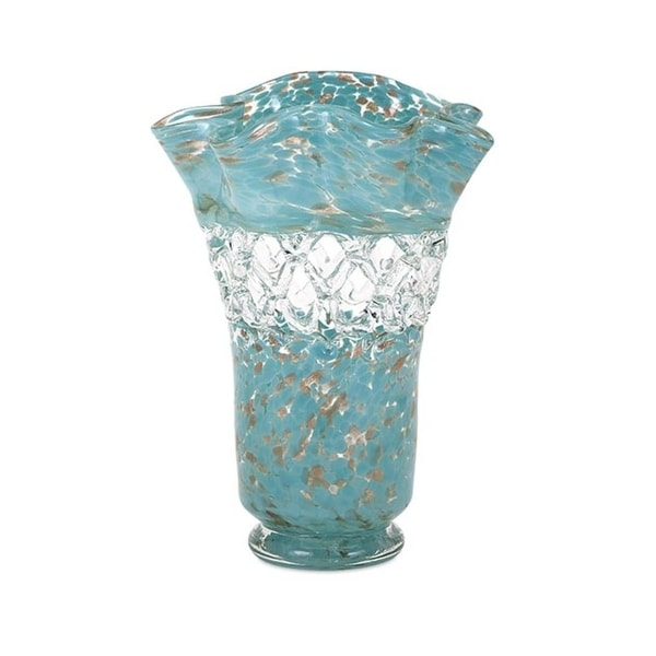 """14.5"""" Shades of Turquoise Blue and Copper Patterned Glass Flower Vase - N/A"""