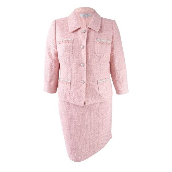 Shop Tahari Asl Women S Boucle Skirt Suit Coco Pink 16 On Sale