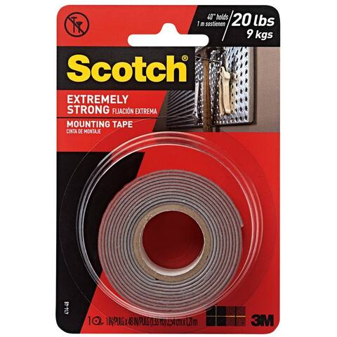 """Scotch 414P Extreme Strong Mounting Tape, 1"""" x 60"""", Red"""