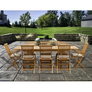 Link to 9 Piece Teak Wood Miami Patio Dining Set with Rectangular Extension Table, 8 Folding Arm and Side Chairs Similar Items in Patio Furniture