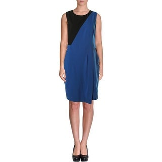 Nine West Womens Autumn Foliage Colorblock Sleeveless Wear to Work Dress
