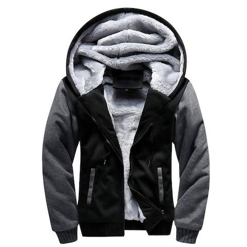 Men's Jacket Velvet Thick Hooded Sweatshirts Solid Warm Jacket Plus Size