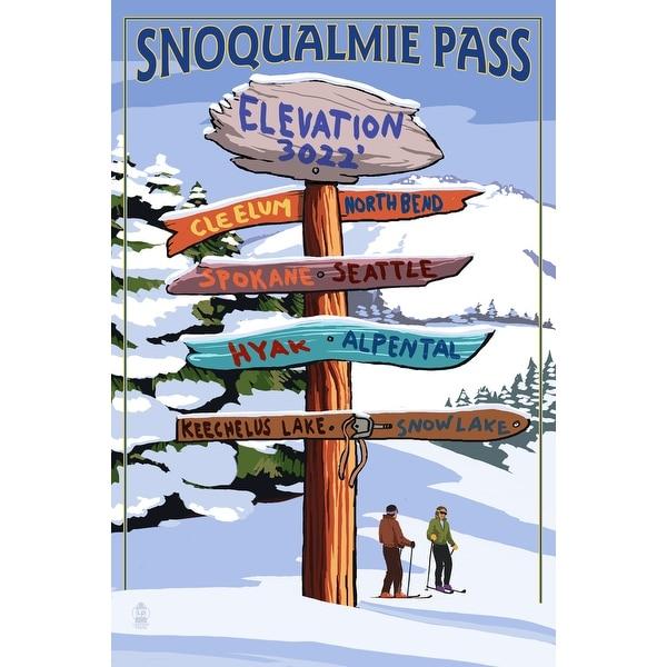 Snoqualmie Pass, WA - Ski Signpost - LP Artwork (Acrylic Wall Clock)
