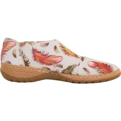 Anuschka Women's Mita Mary Jane Floating Feathers Ivory Printed Leather