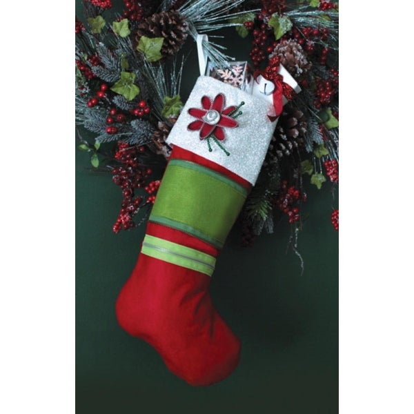 "Pack of 6 Christmas Blossom Zipper Flowers Holiday Stocking 19.5"" - WHITE"