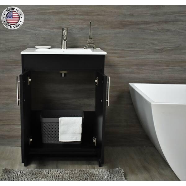 Volpa Usa Villa 24 Inch Black Freestanding Bathroom Vanity Set Overstock 32524595