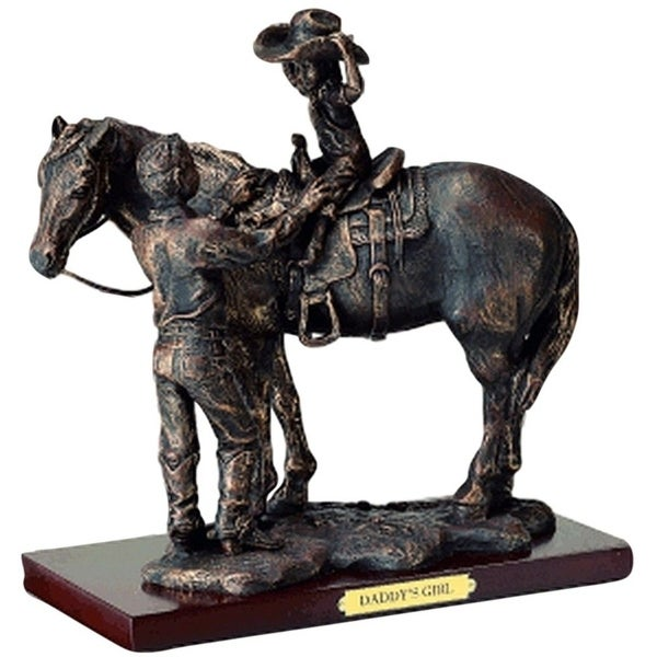 "Western Moments Statue Daddy's Girl Horse 8""x 8 7/8""x 6"" Bronze"