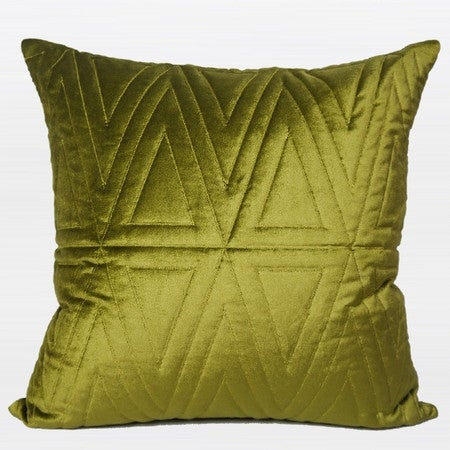 "G Home Collection Luxury Wasabi Green Triangle Pattern Quilting Pillow 22""X22"""