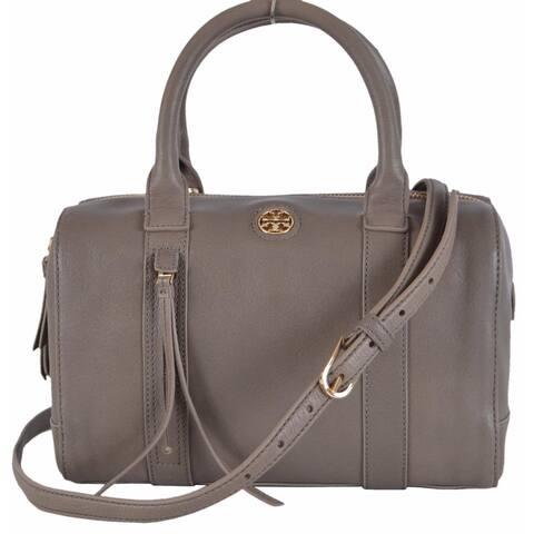 Tory Burch Brody Small Porcini Grey Leather Satchel Purse Handbag
