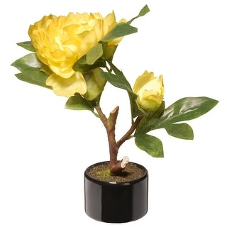 """9.5"""" Potted Artificial Yellow Peony Flower - N/A"""