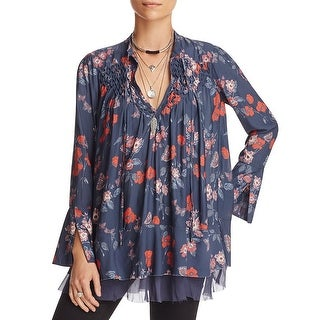 Free People So Fine Printed Peasant Tunic Blouse - xs