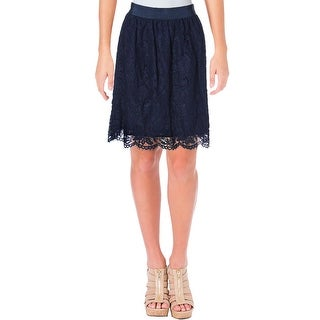 Vince Camuto Womens A-Line Skirt Floral Print Scalloped