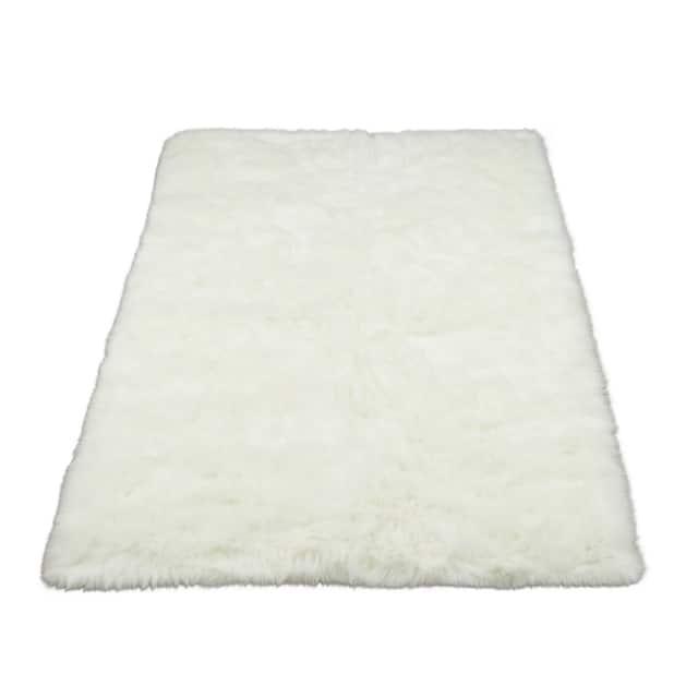 "Walk on Me Faux Sheepskin Rectangle Faux Fur Machine Washable Area Rug - 3'3"" x 4'7"" - White"