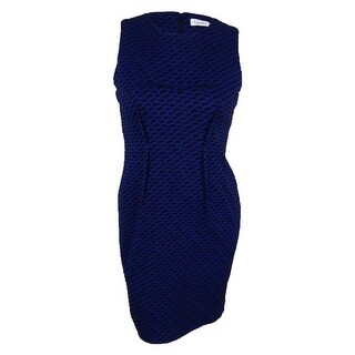 Calvin Klein Women's Sleeveless Textured Sheath Dress - atlantis black