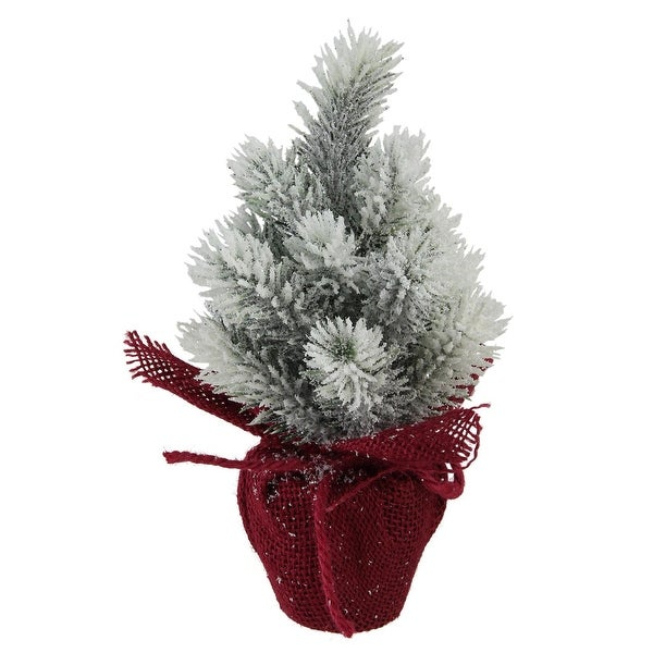 "9"" Flocked Mini Pine Christmas Tree with Berries in Red Burlap Pot"