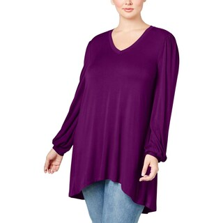 Seven7 Womens Plus Casual Top V-Neck Jersey