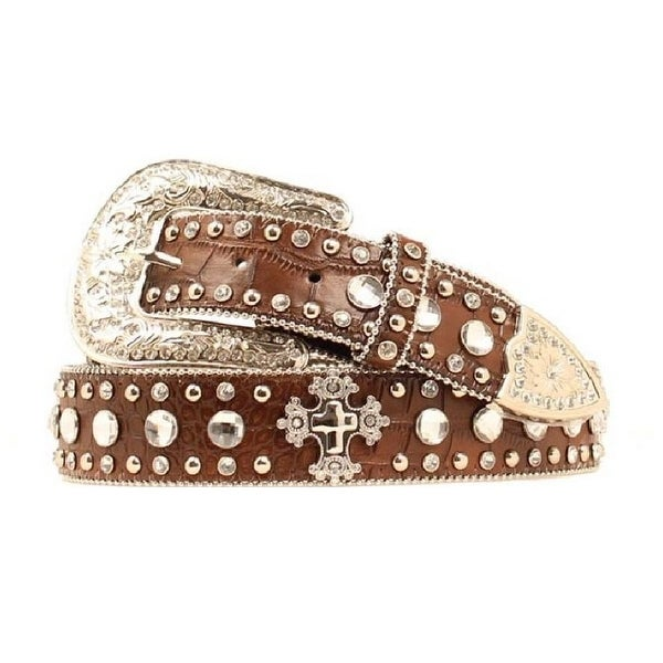 Blazin Roxx Western Belt Womens Crystals Gator Warm Earth