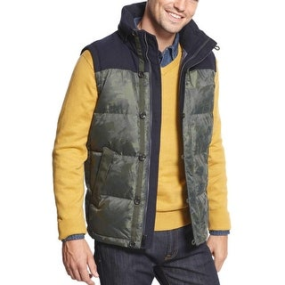 TOMMY HILFIGER Men's Sherwood Hooded Down Vest S Small Green / Navy