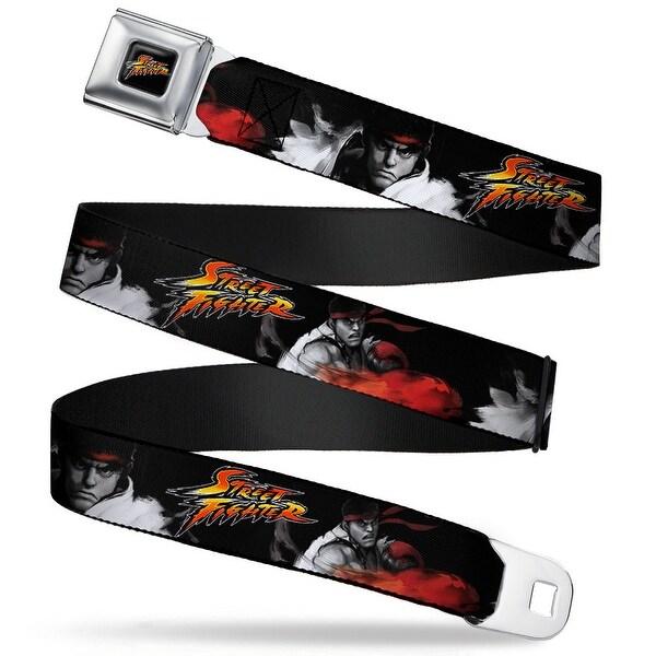 Street Fighter Logo Full Color Black Street Fighter Ryu Fireball Pose Seatbelt Belt
